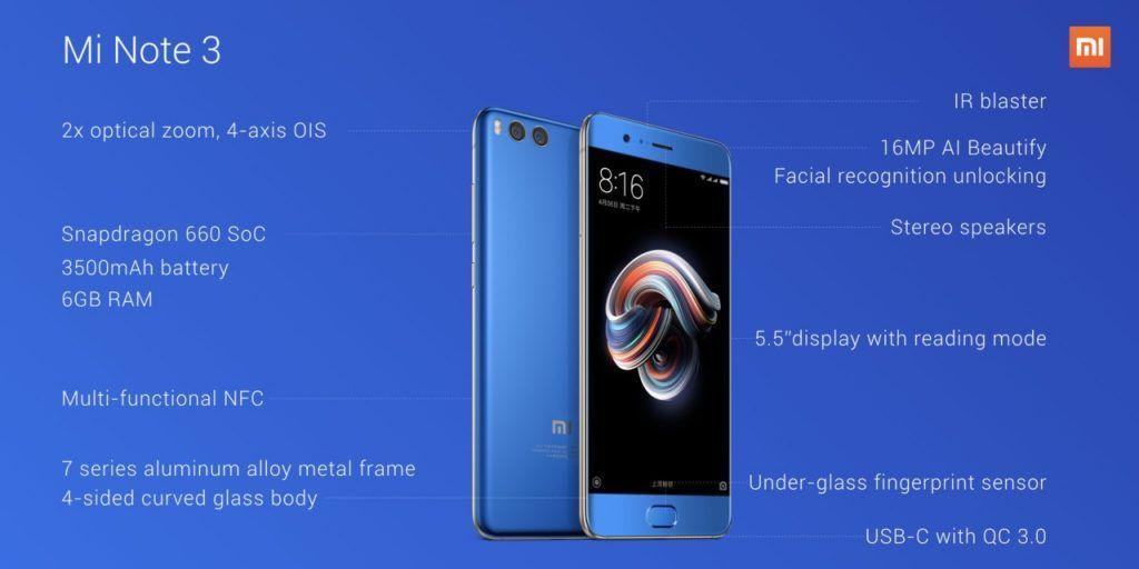 Xiaomi Mi Note 3 Caractéristiques
